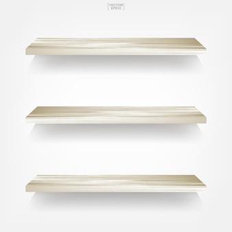Leeres holzregal auf weißem hintergrund mit weichem schatten. vektor-illustration.