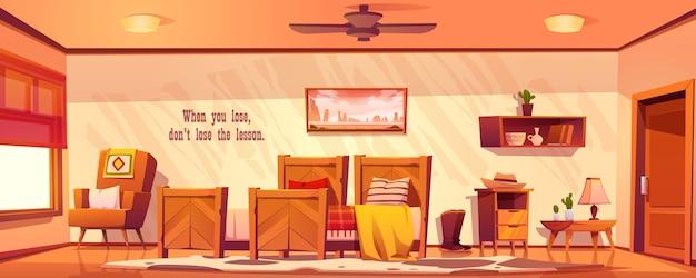 Leeres interieur des schlafzimmers im wilden westen im rustikalen stil