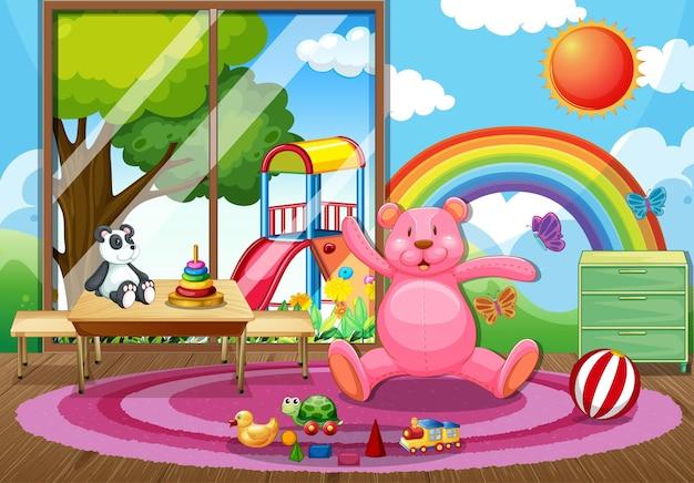 Leeres kindergarten-klassenzimmer mit vielen kinderspielzeugen
