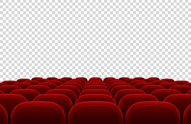 Leeres kino-auditorium mit roten sitzen. lokalisierte vektorillustration der kinohalle innenraum. innensaal des auditoriums und kino mit rotem sitz