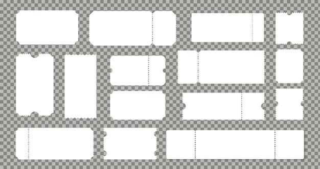 Leeres kino- oder theaterkartenset. leere lotteriekartons oder papiercoupons. gerippter vintage-vorlagen-vektor auf transparentem hintergrund mockups-sammlung isoliert