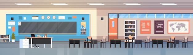 Leeres klassenzimmer-innenschulklassenzimmer mit brett und horizontaler illustration der schreibtische