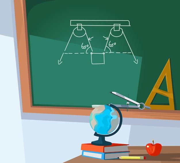 Leeres klassenzimmer und tafel mit formel.