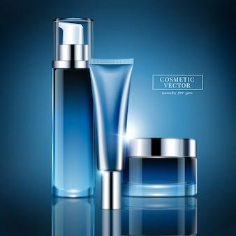 Leeres kosmetikbehälter-set, blaue serienflasche und glas zur verwendung in der illustration
