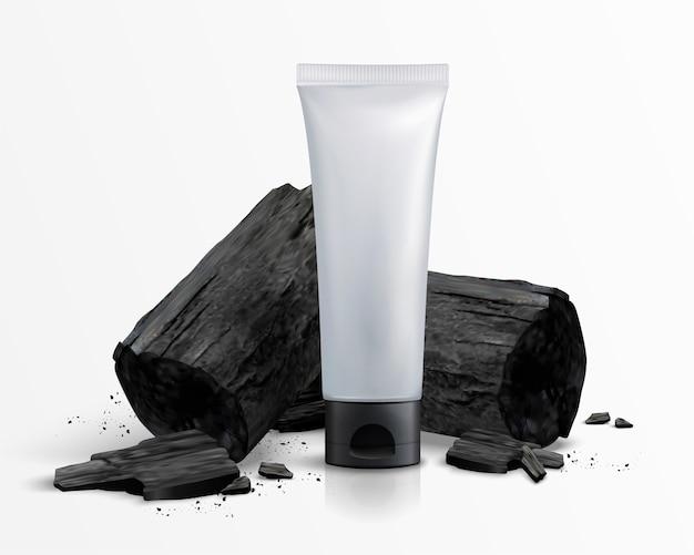 Leeres kosmetisches plastikrohr mit holzkohle in der 3d-illustration, weißer hintergrund