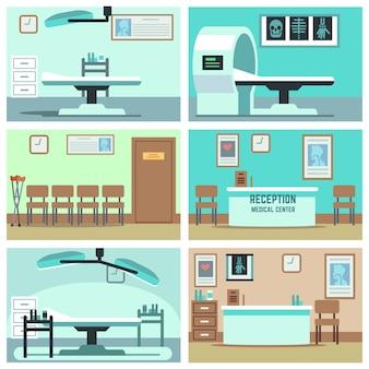 Leeres krankenhaus, doktorbüro, chirurgieraum, klinikinnenraum eingestellt. krankenzimmer mit röntgenbild