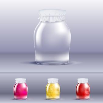 Leeres marmeladenglas mit highlights