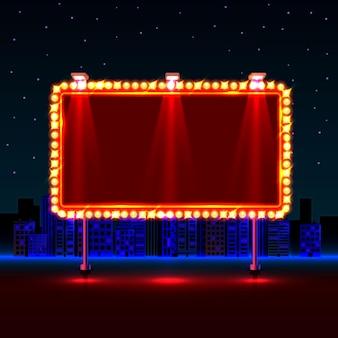 Leeres neon-banner-schild auf dem stadthintergrund. vektor-illustration