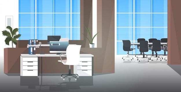 Leeres no people coworking center mit modernem büroraum im tagungsraum