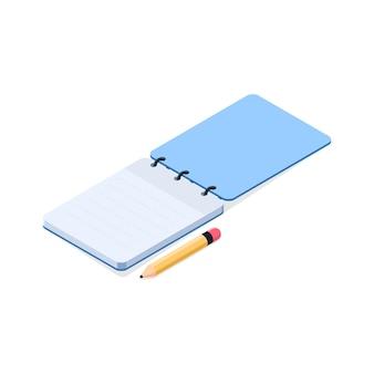 Leeres notizbuch mit einem bleistift auf der seitlichen weißen hintergrundvektorillustration