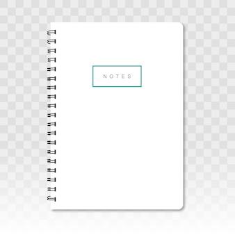 Leeres notizbuch mit schatten auf transparentem hintergrund