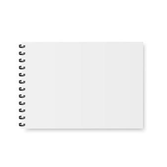 Leeres notizbuch, schreibheft, menü mit metallischer spirale.