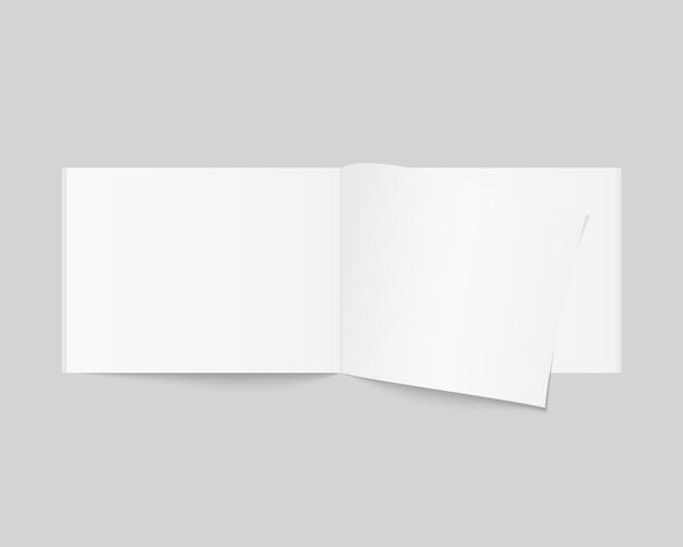 Leeres offenes buch-, magazin- und notizbuchmodell mit weichem schatten