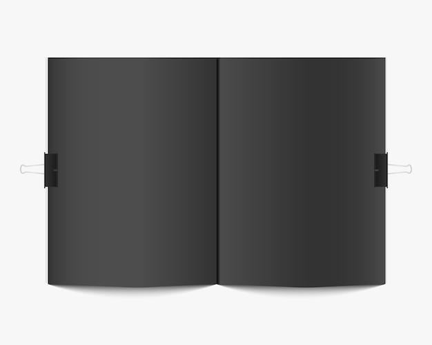 Leeres offenes buch oder zeitschriftenmodell. realistische buchvorlage isoliert auf weißem hintergrund. leere zeitschrift verbreitet. modell für design.