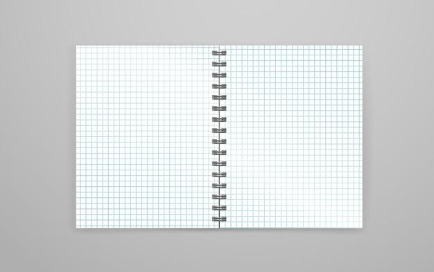 Leeres offenes weißes notizbuchvektormodell. identitätsvorlage
