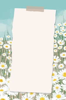 Leeres papier auf gemustertem hintergrund mit gänseblümchen