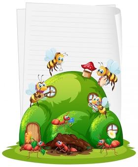 Leeres papier mit ameisennest und bienen