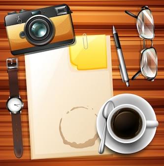 Leeres papier und heißer kaffee