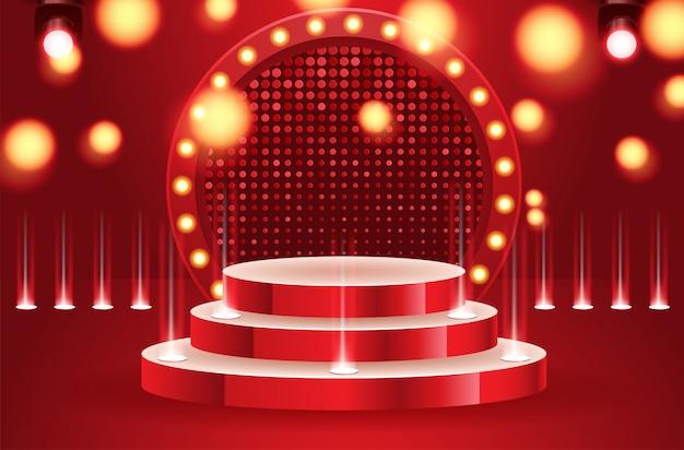Leeres podium des sportsiegers belichtet durch scheinwerfervektorillustration. bühne leer mit flutlicht beleuchtet. vektor-illustration