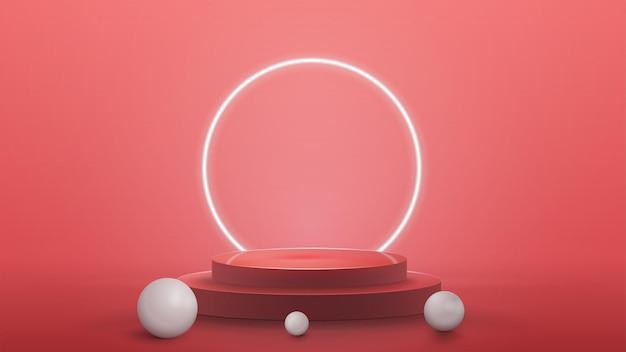 Leeres podium mit realistischen kugeln und neonring auf hintergrund mit rosa abstrakter szene mit neonweißem ring