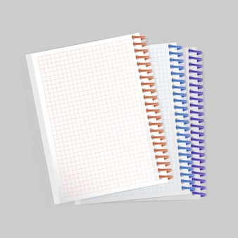 Leeres realistisches notizbuch mit spiralblock