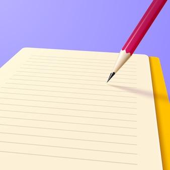 Leeres realistisches notizbuch oder notizbuch mit bleistift und freiem platz für text