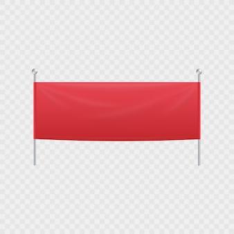Leeres rotes horizontales textilbanner oder plakatwand, der an stangen hängt.