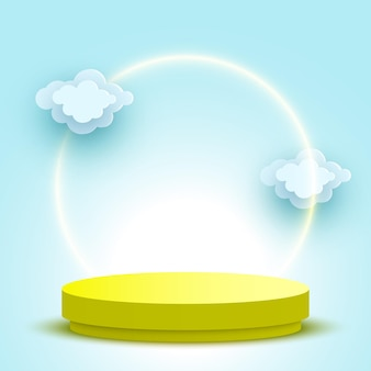Leeres rundes podium mit wolken gelber podest-kosmetikprodukt-display-plattform