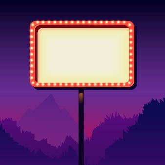 Leeres schild der weinlese mit lichtern. schild am straßenrand. verkehrsschild aus den 50er jahren. rote plakatwand mit lampen