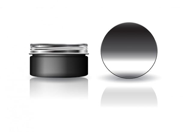 Leeres schwarzes rundes kosmetikglas mit silbernem deckel für schönheit oder gesundes produkt.