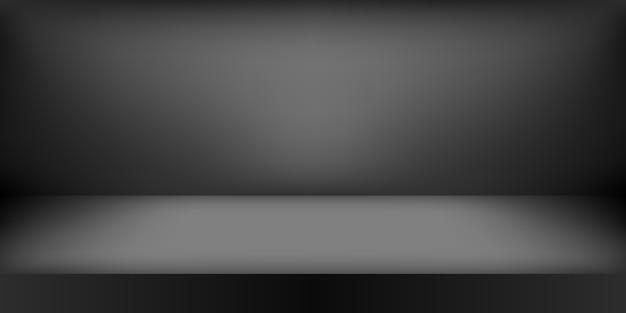 Leeres schwarzes studio. raumhintergrund, produktanzeige mit kopierraum für die anzeige des inhaltsdesigns.
