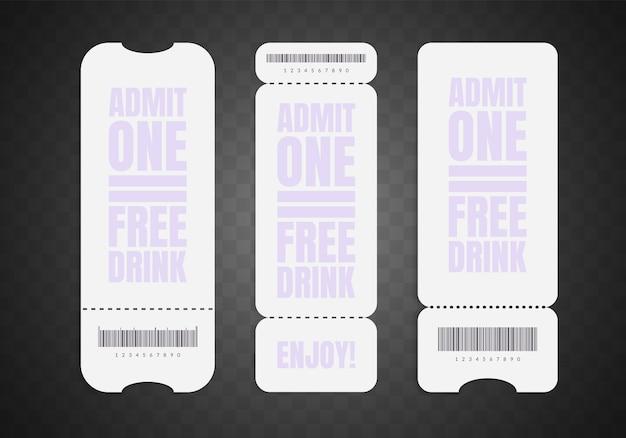 Leeres ticket-set. realistischer weißbuchcoupon isoliert