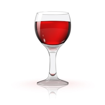 Leeres transparentes foto realistisch lokalisiert auf weißweinglas mit rotwein