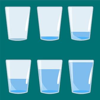 Leeres und volles glas wasservektorillustration