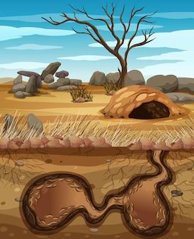 Leeres unterirdisches tierloch