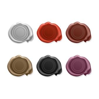 Leeres wachssiegel, satz stempel-wachssiegel in verschiedenen leuchtenden farben. siegelwachs alte realistische stempel beschriftet ikonen