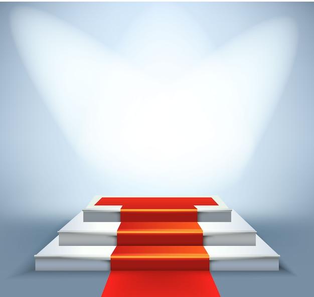 Leeres weiß beleuchtetes podium mit rotem teppich auf treppen