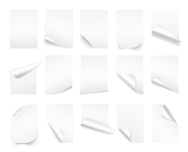 Leeres weißes blatt papier mit gekräuselter ecke und schatten
