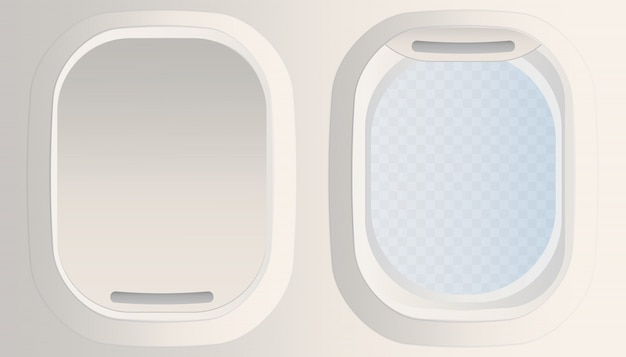 Leeres weißes flugzeugfenster, isolierte flugzeugfenster-bullaugeillustration. geschlossenes fenster des flugzeugs. öffnen sie das transparente fenster des flugzeugs.