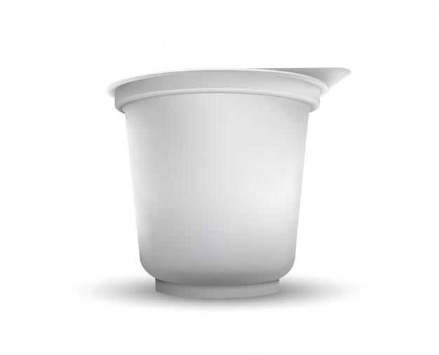 Leeres weißes folien-lebensmittelverpackungslustration lokalisiert.