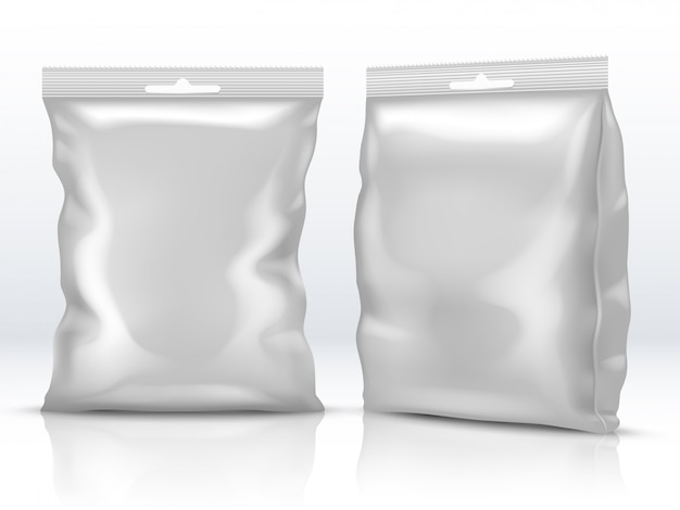 Leeres weißes lebensmittelpapier oder folienverpackung lokalisierten illustration des vektors 3d
