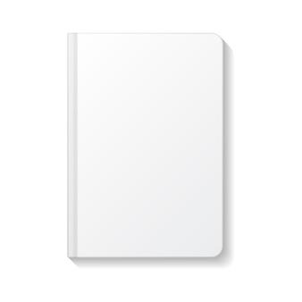 Leeres weißes notizbuch draufsichtschablone der abgerundeten kanten.