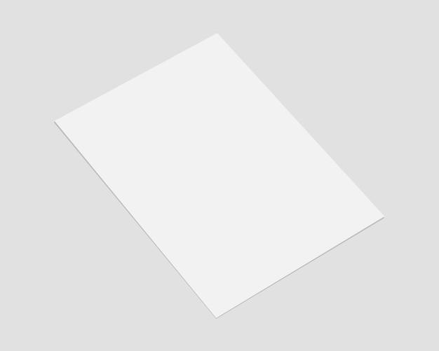 Leeres weißes papier mit weichem schatten. papiermodellvektor. realistisch