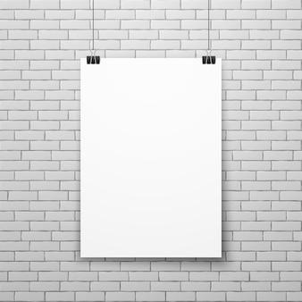 Leeres weißes plakat auf backsteinmauervektorillustration