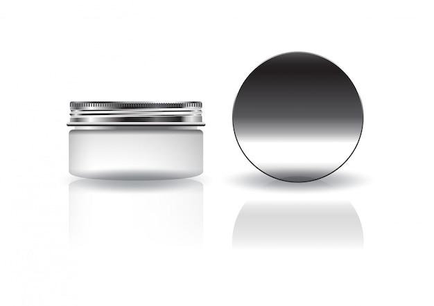 Leeres weißes rundes kosmetikglas mit silbernem deckel für schönheit oder gesundes produkt.