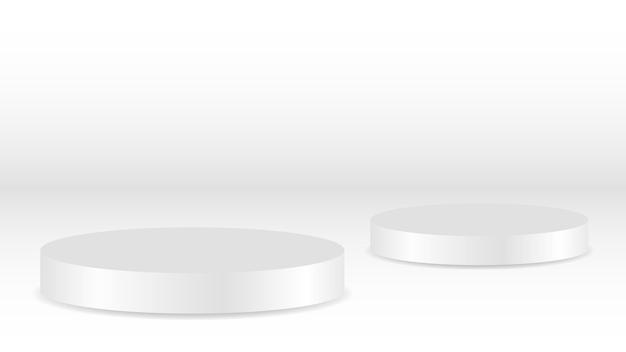 Leeres weißes rundes podest mit rundem gewinnerpodest für die präsentation von luxusprodukten