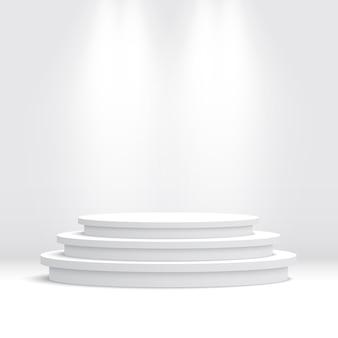 Leeres weißes rundes podium. sockel.
