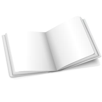 Leeres weißes vektor geöffnetes buch oder fotoalbum für ihre nachrichten, designkonzepte, fotos usw.