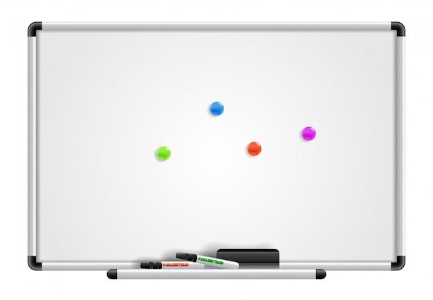 Leeres whiteboard, marker und magnete. für banner, plakate, prospekte und broschüren.
