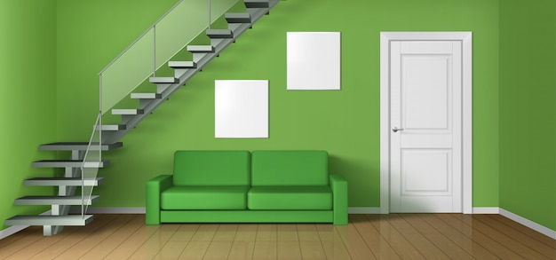 Leeres wohnzimmer mit sofa, treppe und tür Kostenlosen Vektoren